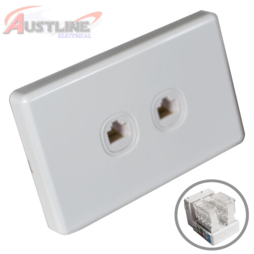 2Gang Network Cat6 Wall Plate Clipsal Style 2Port RJ45 LAN Jack +C-Clip Aw2C90