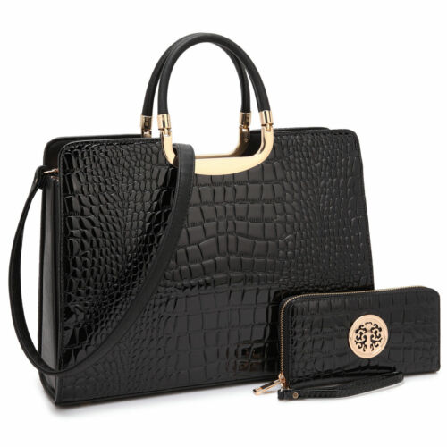 New Womens Handbag Croco Leather Briefcase Satchel Purse Laptop Bag w/ Wallet
