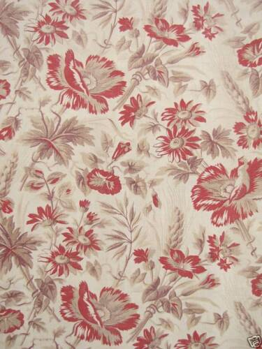 LENGTH ONE of set Antique French printed fabric madder timeless floral