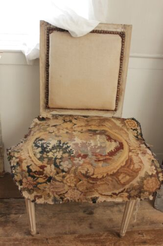 Antique French Tapestry panel Aubusson hand woven chair back textile
