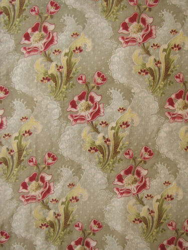 Antique French Art Nouveau fabric material green red ~