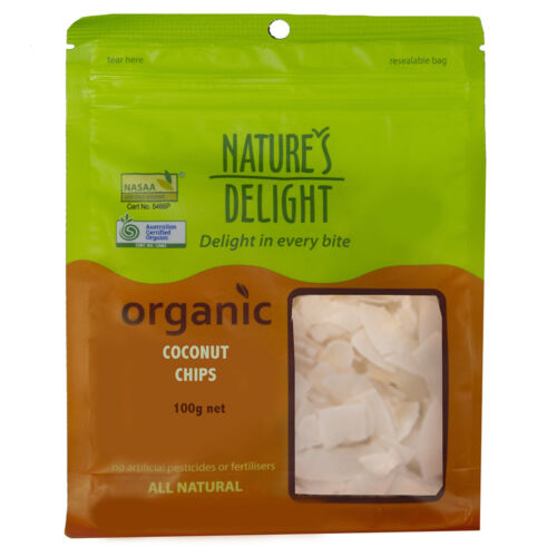 12 x 100g NATURES DELIGHT Organic Coconut Chips ( total 1.2kg )