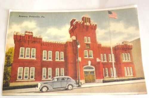"Nice 7"" by 10 3/4"" Copy Colored Picture Paint of The Armory, Pottsville, Pa."