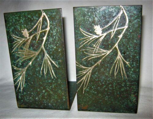 ANTIQUE HEINTZ USA ARTS CRAFTS MISSION BRONZE STERLING SILVER PINE TREE BOOKENDS