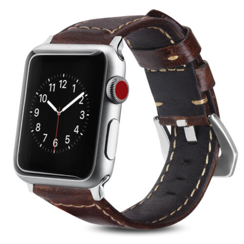 Apple Watch Series 3/2/1 42mm 38mm Band Premium Leather Strap Wrist Replacement