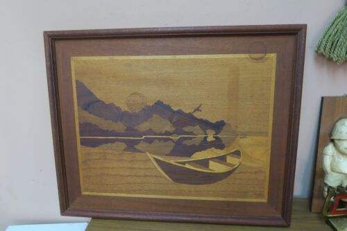 "Vintage  Inlaid Marquetry Wood Inlay Picture Fishing Boat Sunset 16"" x 20"""