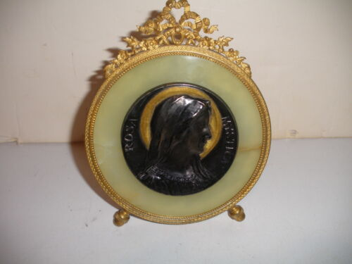 EXQUISITE ANTIQUE FRENCH FRAME ONYX WITH BRONZE RELIEF PORTRAIT  ROSA MYSTICA