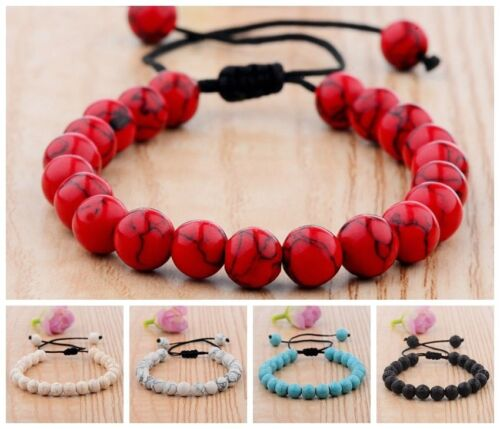 New Couples Men Women Beads Turquoise Howlite Agate Macrame Braided Bracelets