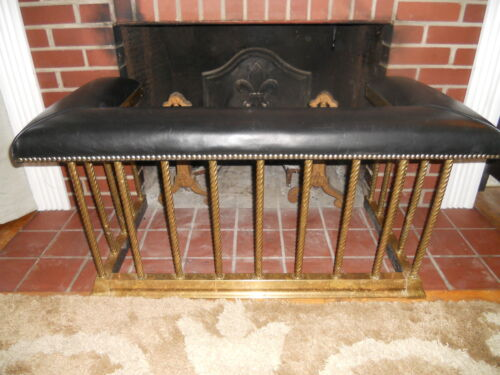 ANTIQUE ENGLISH BRASS CLUB FENDER FIREPLACE SEAT * BENCH 1890 LEATHER SEAT