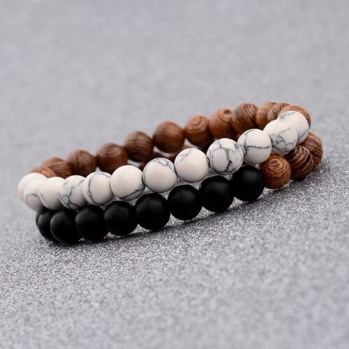 2Pcs Women Man 8mm Wood Lava Beads Energy Yoga Reiki Couples Bracelets Xmas Gift