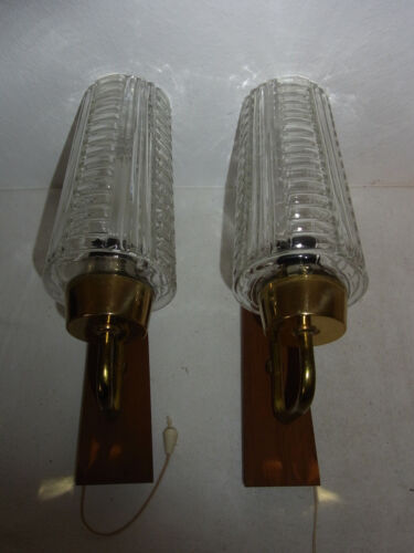 Pair Mid Century 60´s Teak & Art Deco Style Glass Shade Sconce #O/i