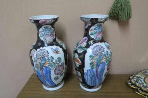 """Pair of 2 Vintage China Chinese Hand Painted Porcelain Vase Signed Marked 15"""""""