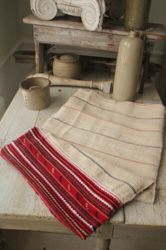 Antique pillow sack folk art hand-woven red + blue stripe hand woven textile