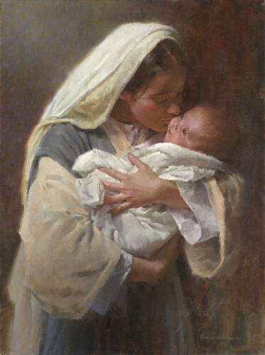 Morgan Weistling KISSING THE FACE OF GOD giclee canvas Virgin Mary, Jesus Christ