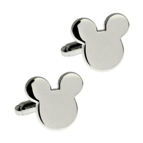MICKEY MOUSE EARS CUFFLINKS Silver Metallic NEW w GIFT BAG Father's Day Wedding