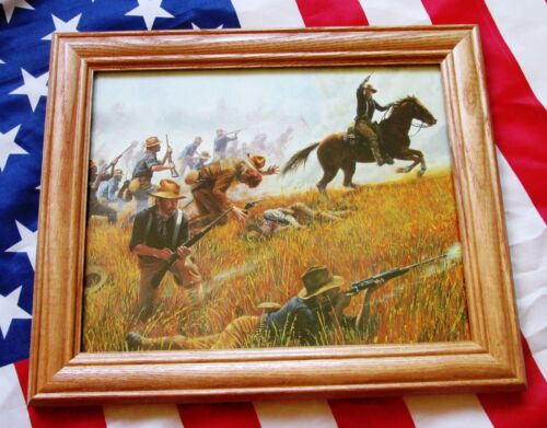 Spanish American War Print by Mort Kunstler, Theodore Roosevelt, Rough RidersReproductions - 156386