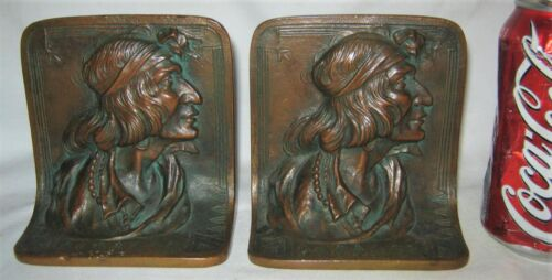 ANTIQUE BRONZE GERONIMO NATIVE AMERICAN INDIAN WAR ART STATUE SCULPTURE BOOKENDS