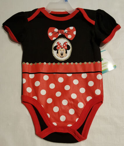 Girls Infant Red/Black Minnie Mouse Creeper/Onecie: 3-6M--12M