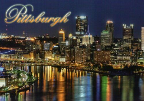 Skyline of Pittsburgh Pennsylvania at Night River Water Reflection PA - Postcard