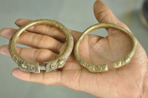 2 Pc Old 1940's Handcrafted Engraved Lion Face Crafted Bracelet/ Bangles