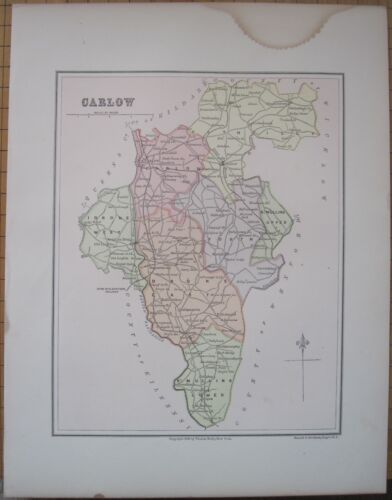 Irish Map County CARLOW Baronies Southeast Ireland Thomas Kelly Russell 1880