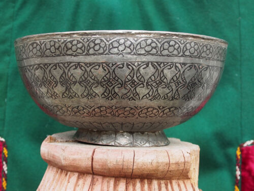 Antique islamic Tinned Copper Bowl 19th Afghanistan antik schale schüssel No:14