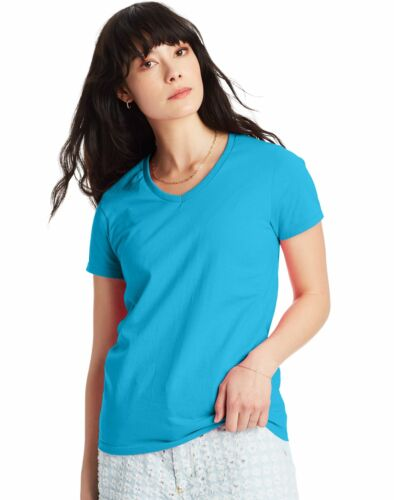 Hanes Relaxed Fit V-neck T-Shirt ComfortSoft Women's Tops Tagless Cotton Short
