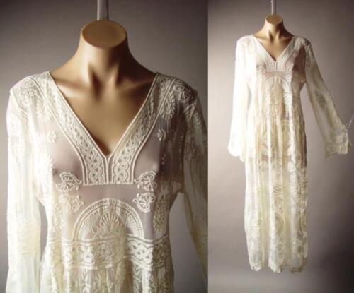 Ivory Embroidered Sheer Lace 20s Victorian Bohemian Maxi Gown 265 mv Dress S M L