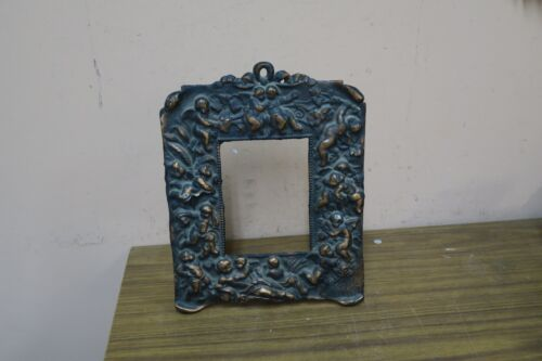"ANTIQUE CHERUB ANGEL ORNATE BRONZE  TABLE PICTURE FRAME 8.5"" X 10"""