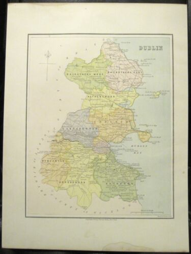 Irish Map Co COUNTY DUBLIN City Bay Ireland Skerries Bray Thomas Kelly 1878