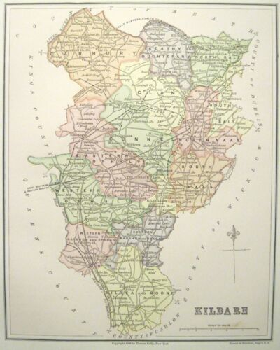 Irish Map County KILDARE Curragh Ireland Midlands Baronies Thomas Kelly 1882