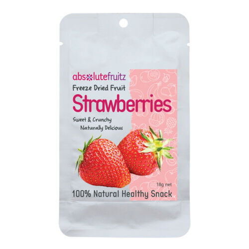 6 x 20g ABSOLUTEFRUITZ Freeze Dried Fruit Whole Strawberries  ( total 120g )