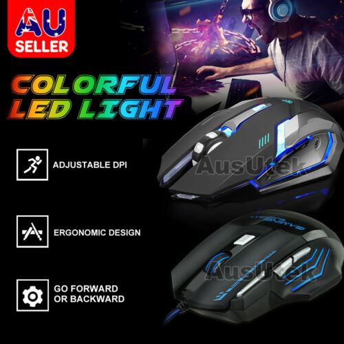 High DPI Wired / Wireless Rechargeable USB Optical Ergonomic Gaming Mouse PC MAC