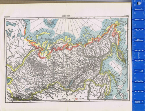 Siberia, Russian Province, Northern Asia - Map Print -- 1907