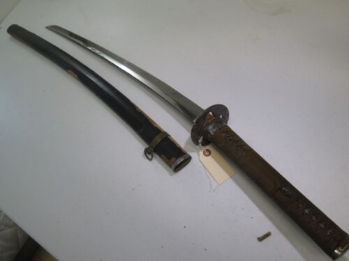 OLD JAPANESE SAMURAI SWORD SIGNED & DATED SPECIAL ORDER WITH SCABBARD #L71