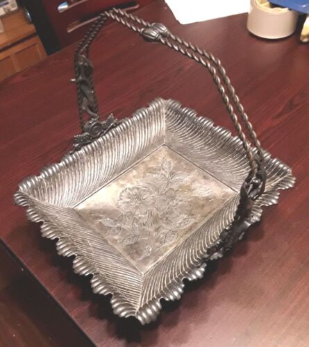 VTG. Heavy Rogers Triple Silver Plated Metal 1888 Serving Dish w Handle & Feet