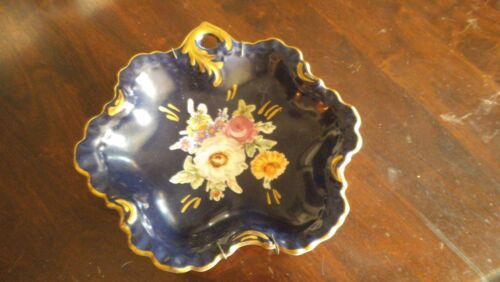 ANTIQUE PORCELAIN HAND PAINTED PLATE DISH WALL HANGING BLUE FLORAL GOLD *BAVARIA