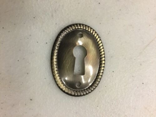 Antiqued  Brass Oval Keyhole Cover  ESCUTCHEON vertical #1211-AB
