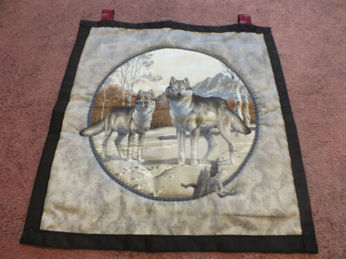 """Collectible Beautiful Quilted Handmade Wall Hanging WOLVES Black Grays 14 1/2"""""""