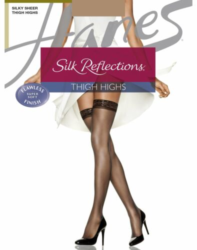 Hanes Thigh High Stockings 3 Pack Reinforced Toe Women's Silk Reflections Sheer