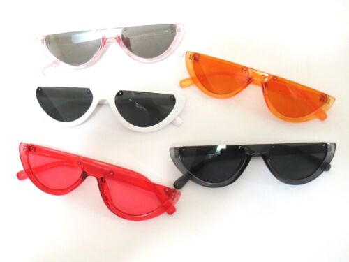 New Women's Vintage Retro Cat Eye Half Frame Sunglasses Colorful Plastic Frames.