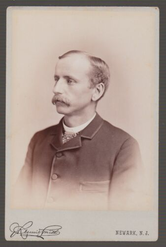 [38115] 1880's CABINET PHOTO of MAN with MUSTACHE (NEWARK, N. J.)