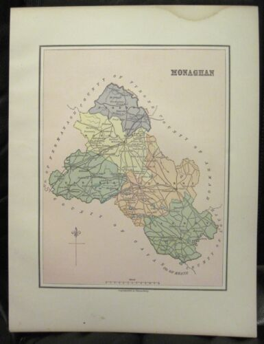 Irish Map County MONAGHAN Baronies Ireland Midlands Border Thomas Kelly 1882