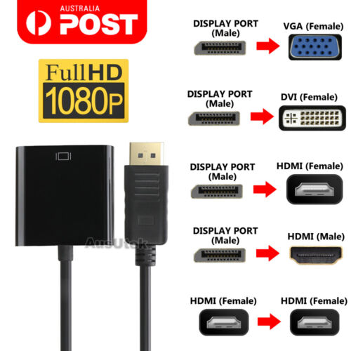 Displayport Display Port DP Male to VGA DVI HDMI Female Converter Adapter Cable
