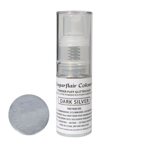 Sugarflair Powder Puff Edible Glitter Spray bez aerozolu 10g - DONKER ZILVER