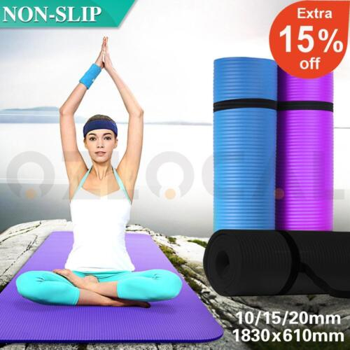 10/15/20MM Thick Yoga Mat Pad NBR Nonslip Exercise Fitness Pilate Gym Durable AU <br/> 3000+ SOLD √ BEST Quality √ 100% Satisfaction