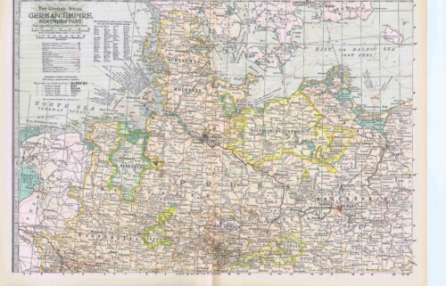 GERMAN EMPIRE - Northern Part -1897 Highly Detailed Antique Color Map