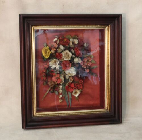 LARGE ~  19th c Victorian Walnut Shadow Box Picture Diorama Frame w Flowers