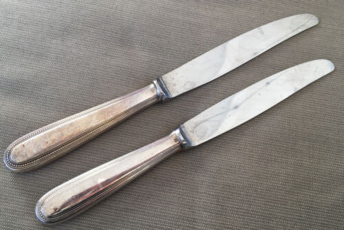 2 Long Mod Hollow Dinner Knives Christofle Perles Silver Silverplate Beaded 1890