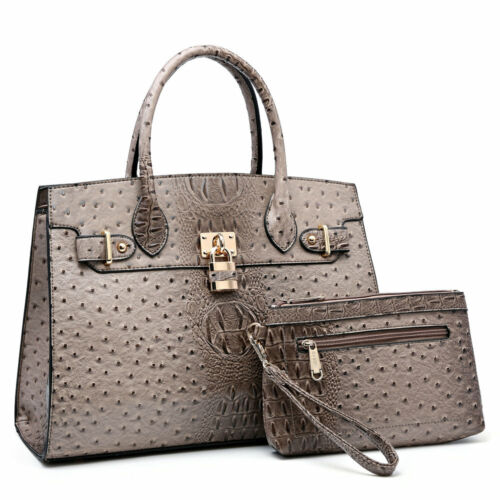 New Women Ostrich and Croco Handbag Embossed Satchel w/ Matching wallet Purse